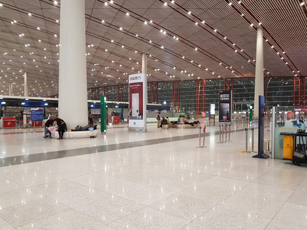 Beijing airport in the middle of the night