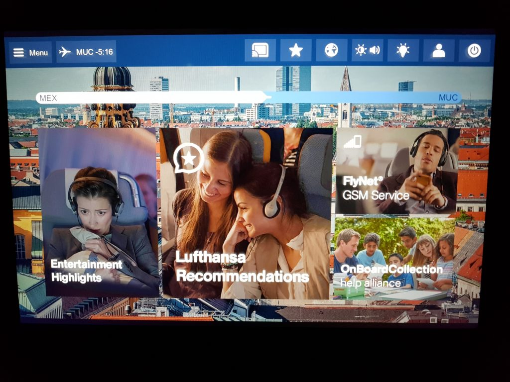 Lufthansa premium economy - entertainment system 1