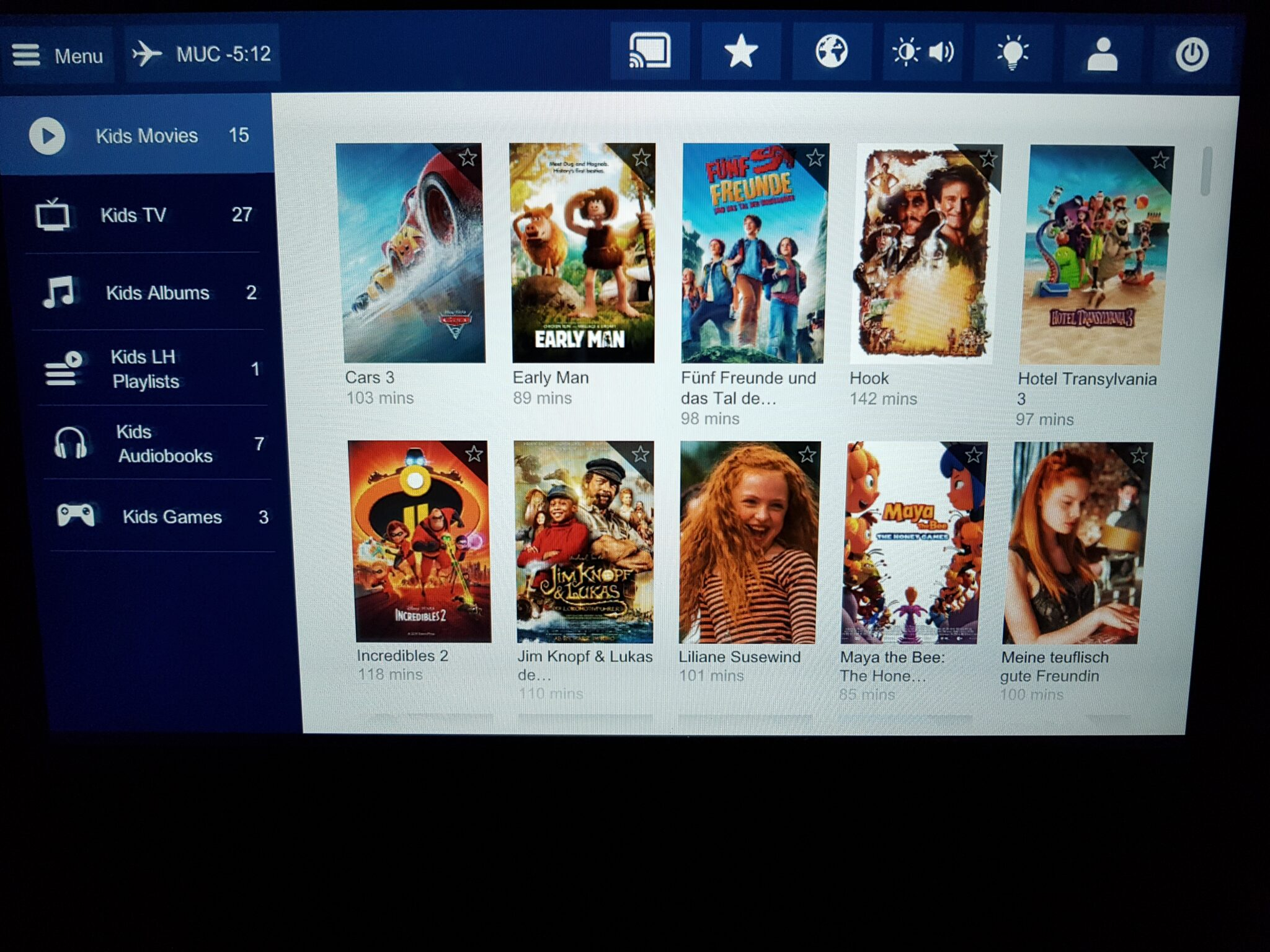 Lufthansa premium economy - entertainment system 12