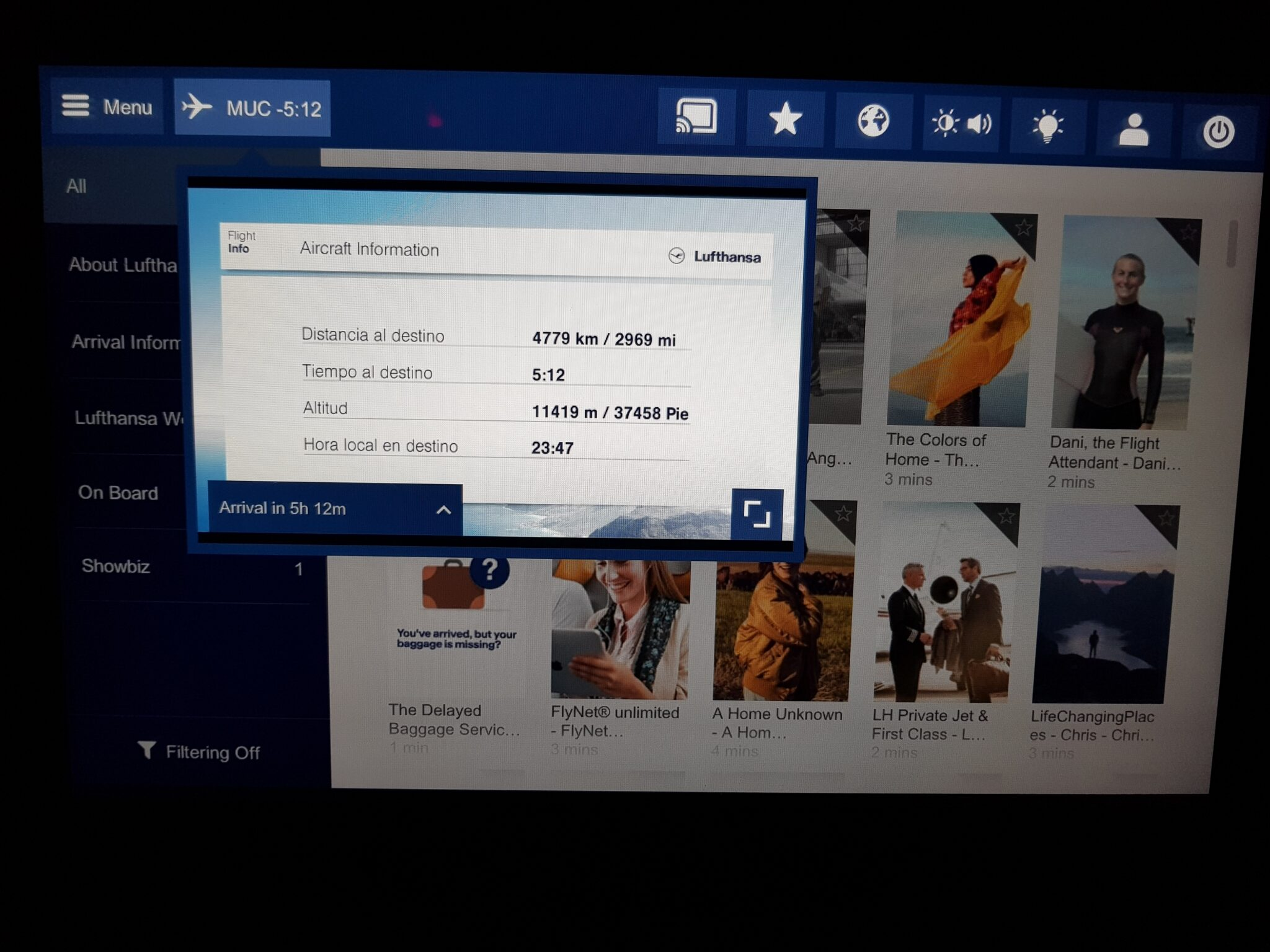Lufthansa premium economy - entertainment system 17