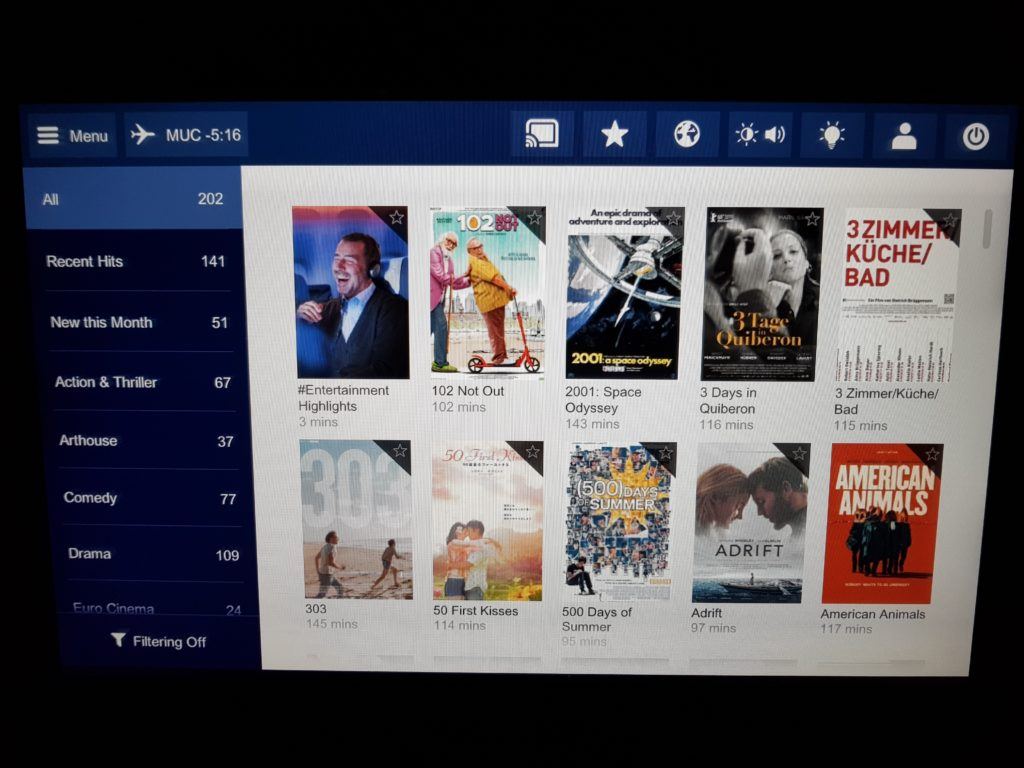 Lufthansa premium economy - entertainment system 3