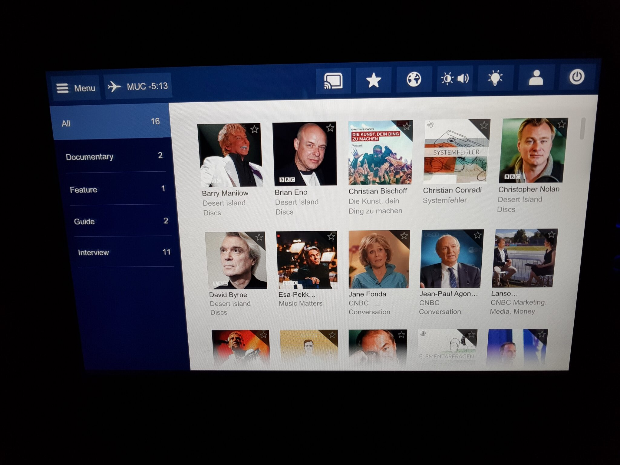 Lufthansa premium economy - entertainment system 8