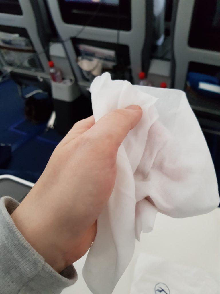 Lufthansa premium economy - hot towel