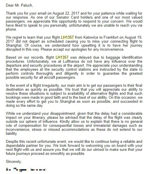 Airhelp review - Lufthansa respond