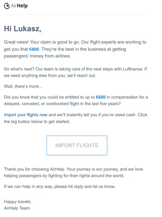 Airhelp review - claim accepted