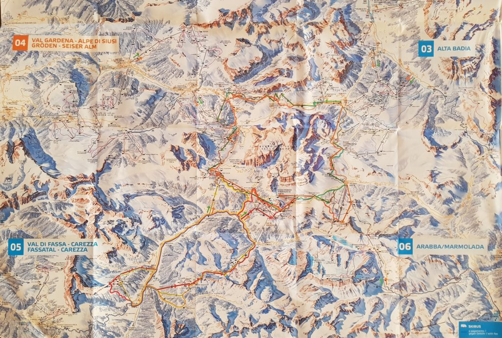 Best Place to Ski With Kids - Sella Ronda Ski Map