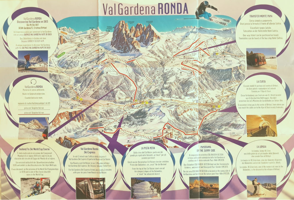 Best Place to Ski With Kids - Val Gardena Ronda Ski Map
