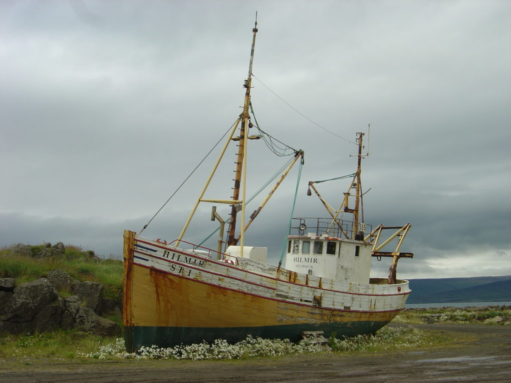 Abandoned ship Hilmir close to Isafjordur