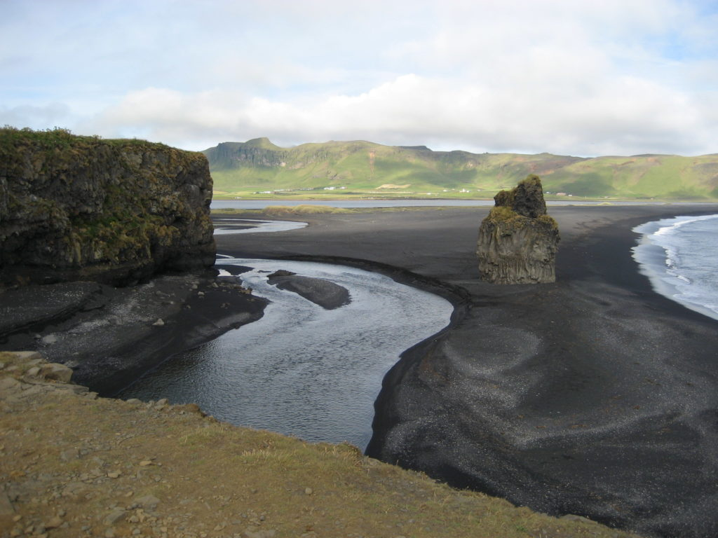 Black sand on Reynisfjara beach