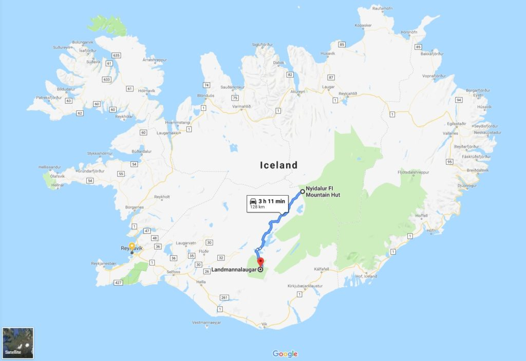 Backpacking in Iceland - Day 7 map