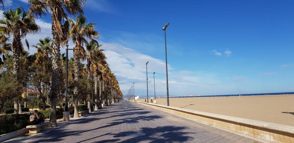 The sidewalk along the beach